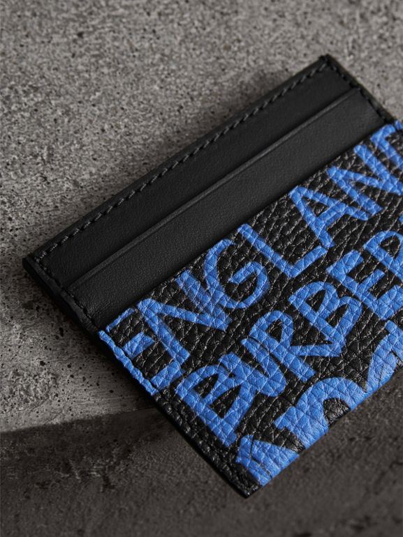 Graffiti Print Leather Card Case in Blue/black | Burberry - cell image 1