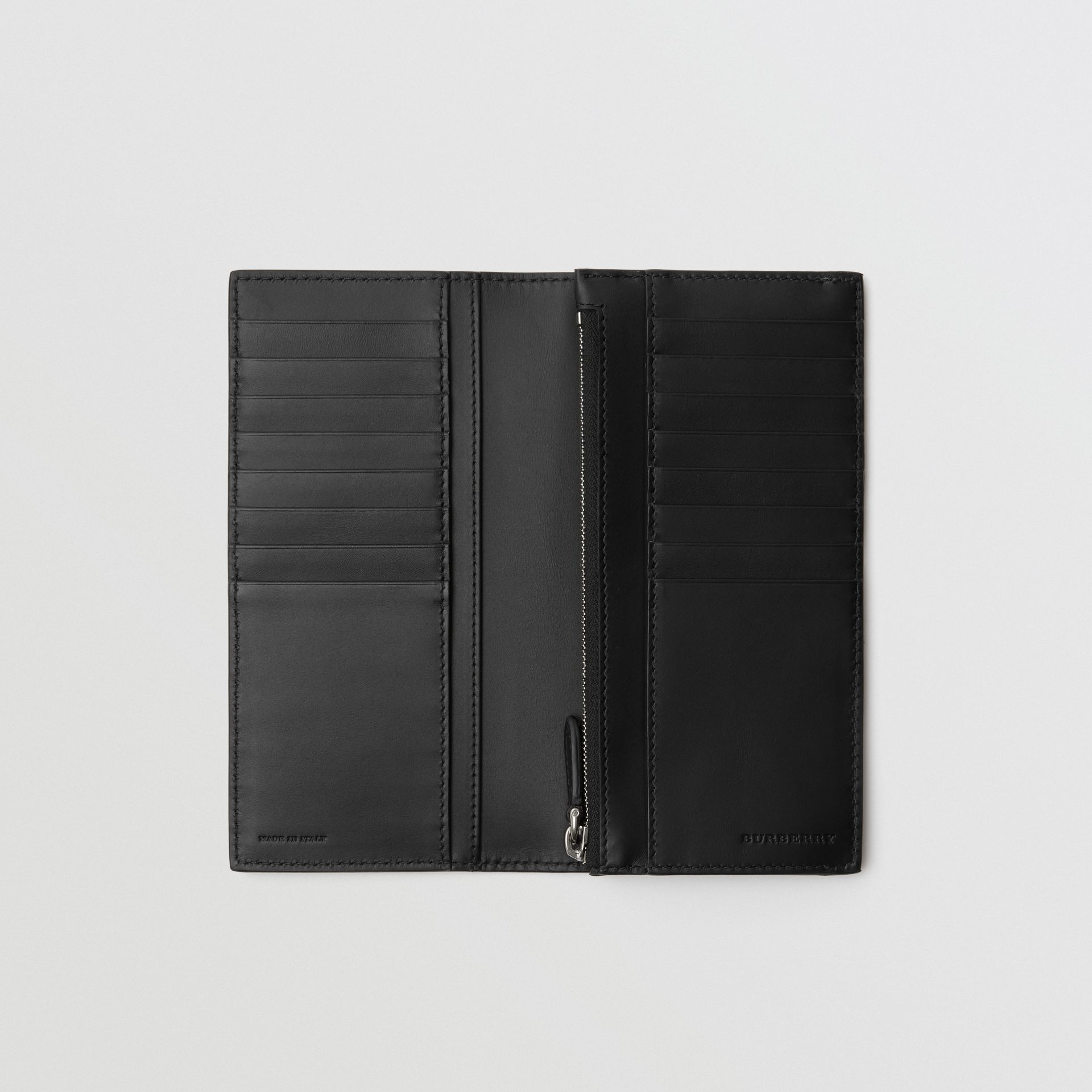 Grainy Leather Continental Wallet in Black - Men | Burberry Australia - gallery image 3