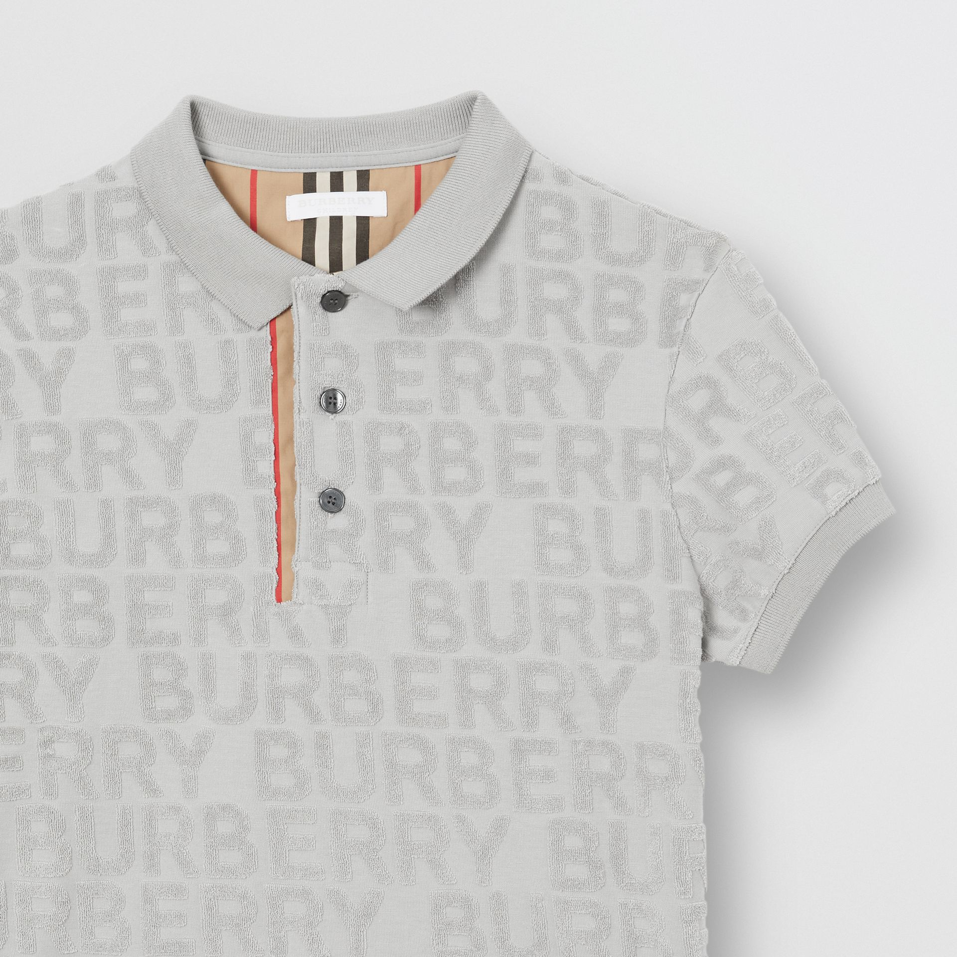 Logo Towelling Polo Shirt in Pale Grey | Burberry - gallery image 4