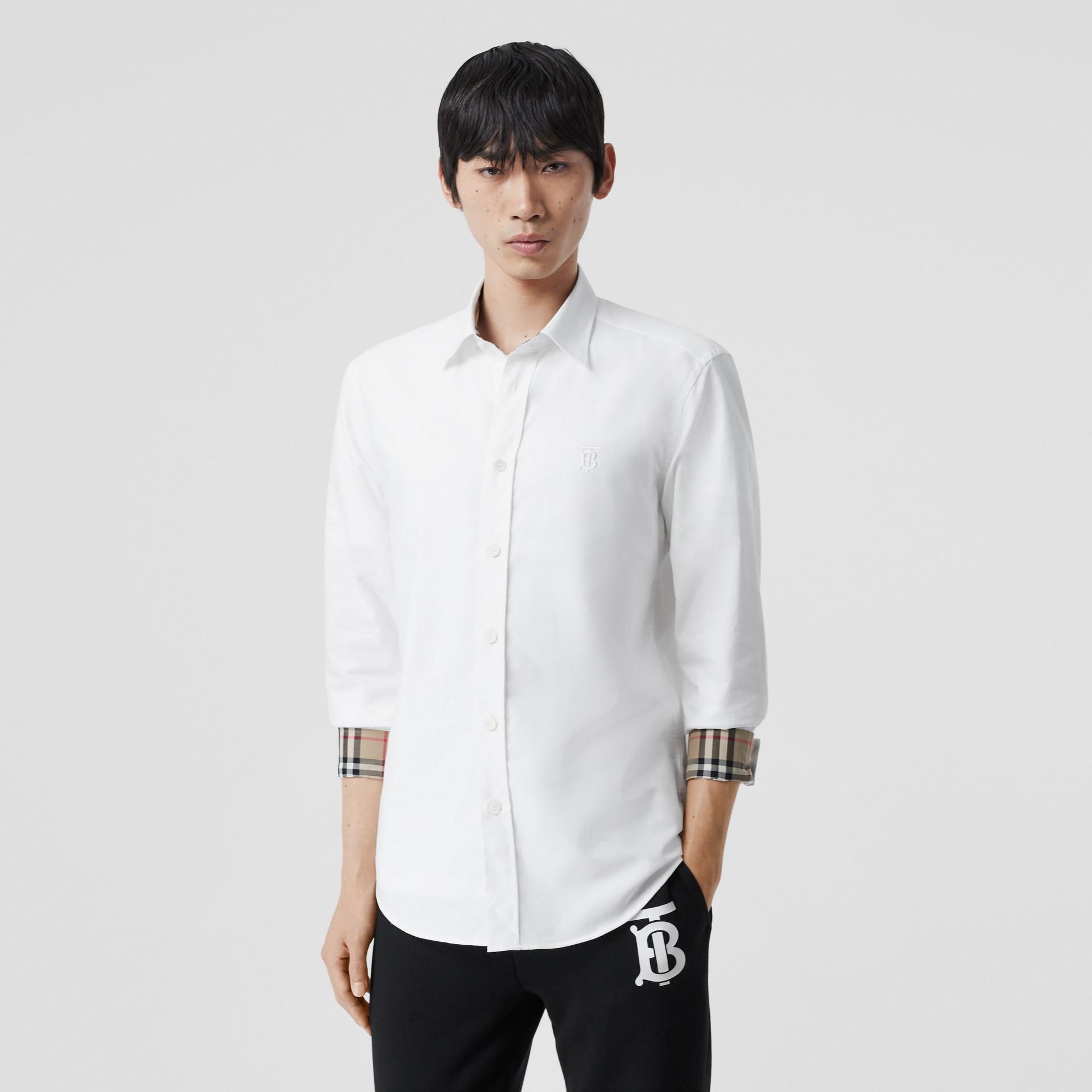 Monogram Motif Cotton Oxford Shirt in White - Men | Burberry Hong Kong S.A.R - gallery image 5