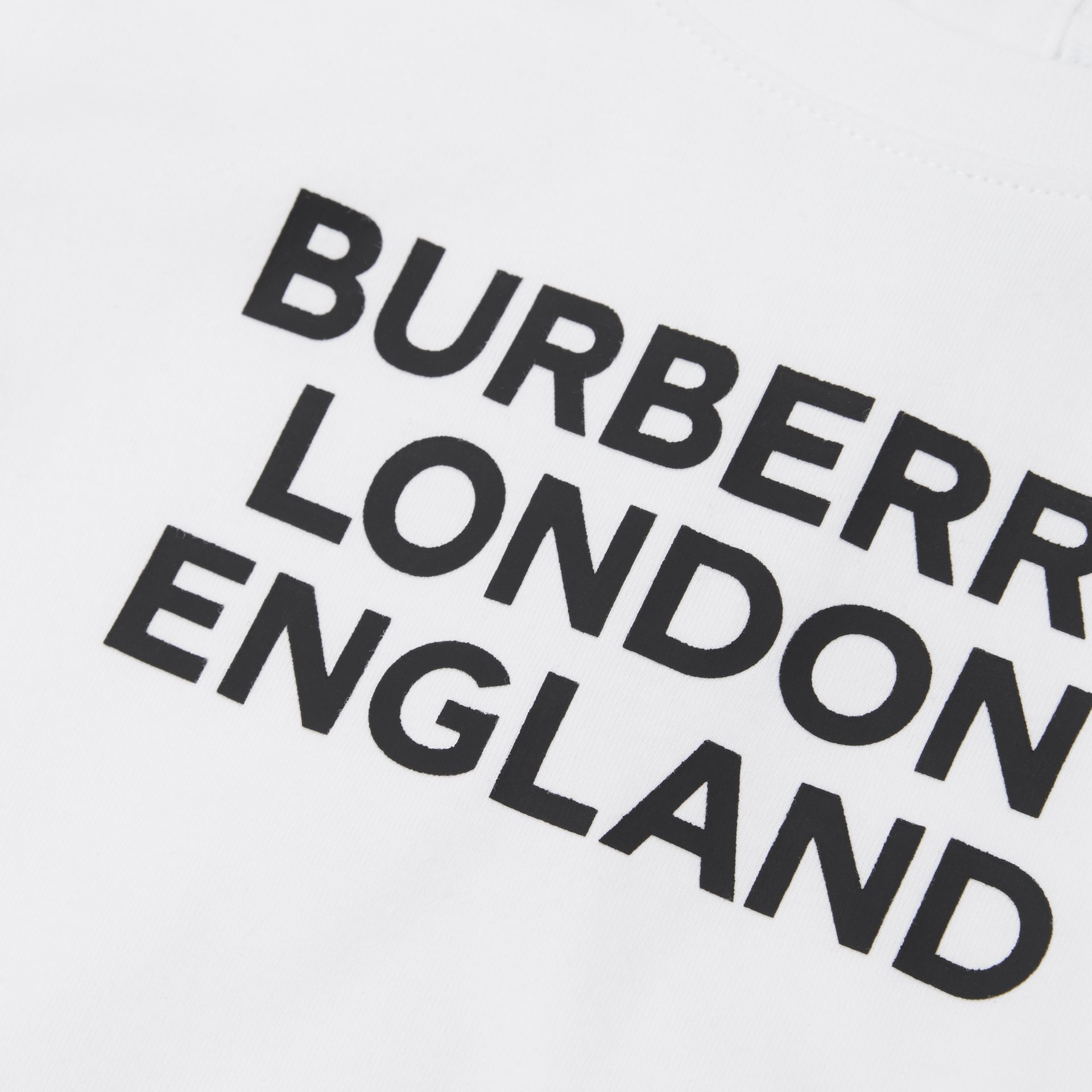 Long-sleeve Logo Print Cotton Top in White - Children | Burberry United Kingdom - gallery image 1