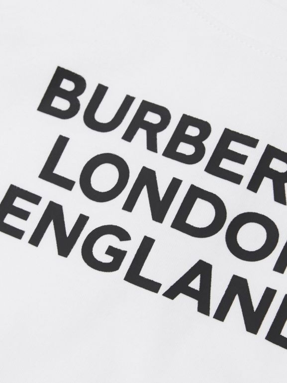 Long-sleeve Logo Print Cotton Top in White - Children | Burberry United Kingdom - cell image 1