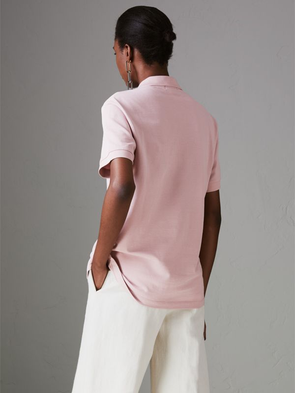 Check Placket Cotton Piqué Polo Shirt in Chalk Pink - Women | Burberry Hong Kong - cell image 2
