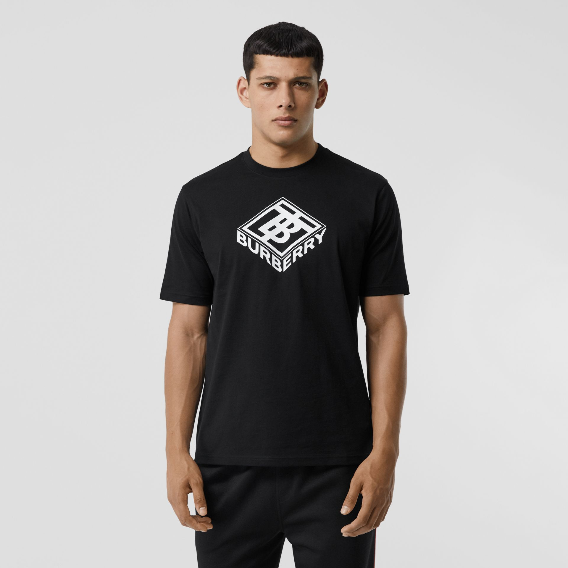 Logo Graphic Cotton T-shirt in Black - Men | Burberry United Kingdom - gallery image 4
