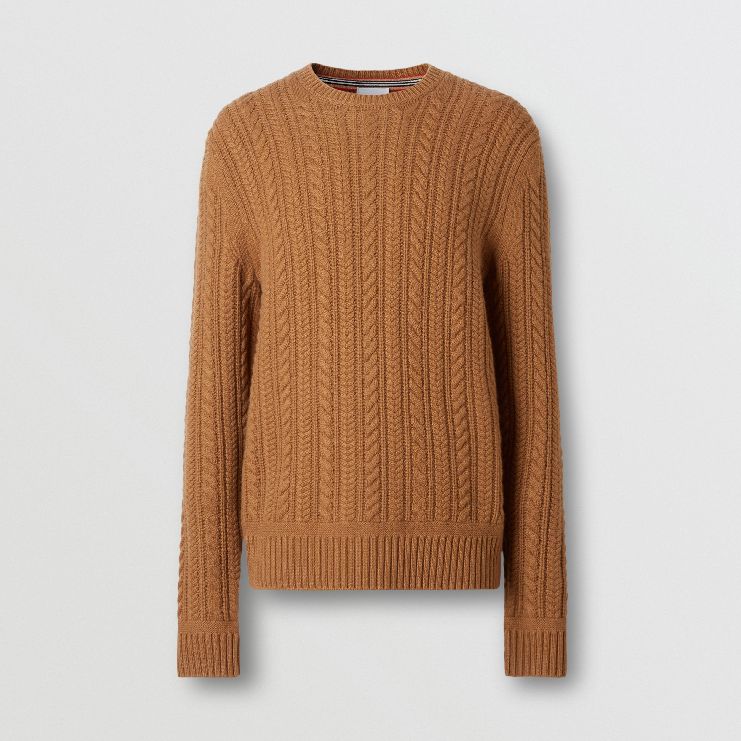 Cable Knit Cashmere Sweater in Maple - Men | Burberry - 4