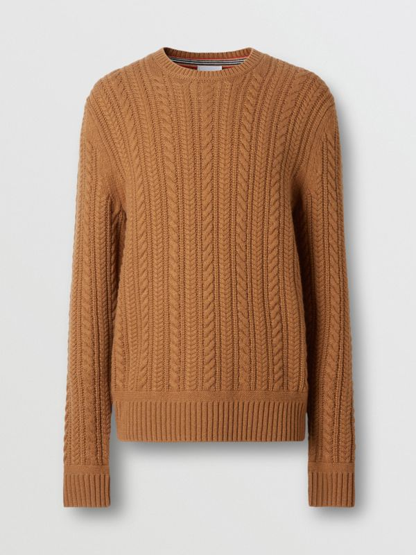 Cable Knit Cashmere Sweater in Maple - Men | Burberry - cell image 3