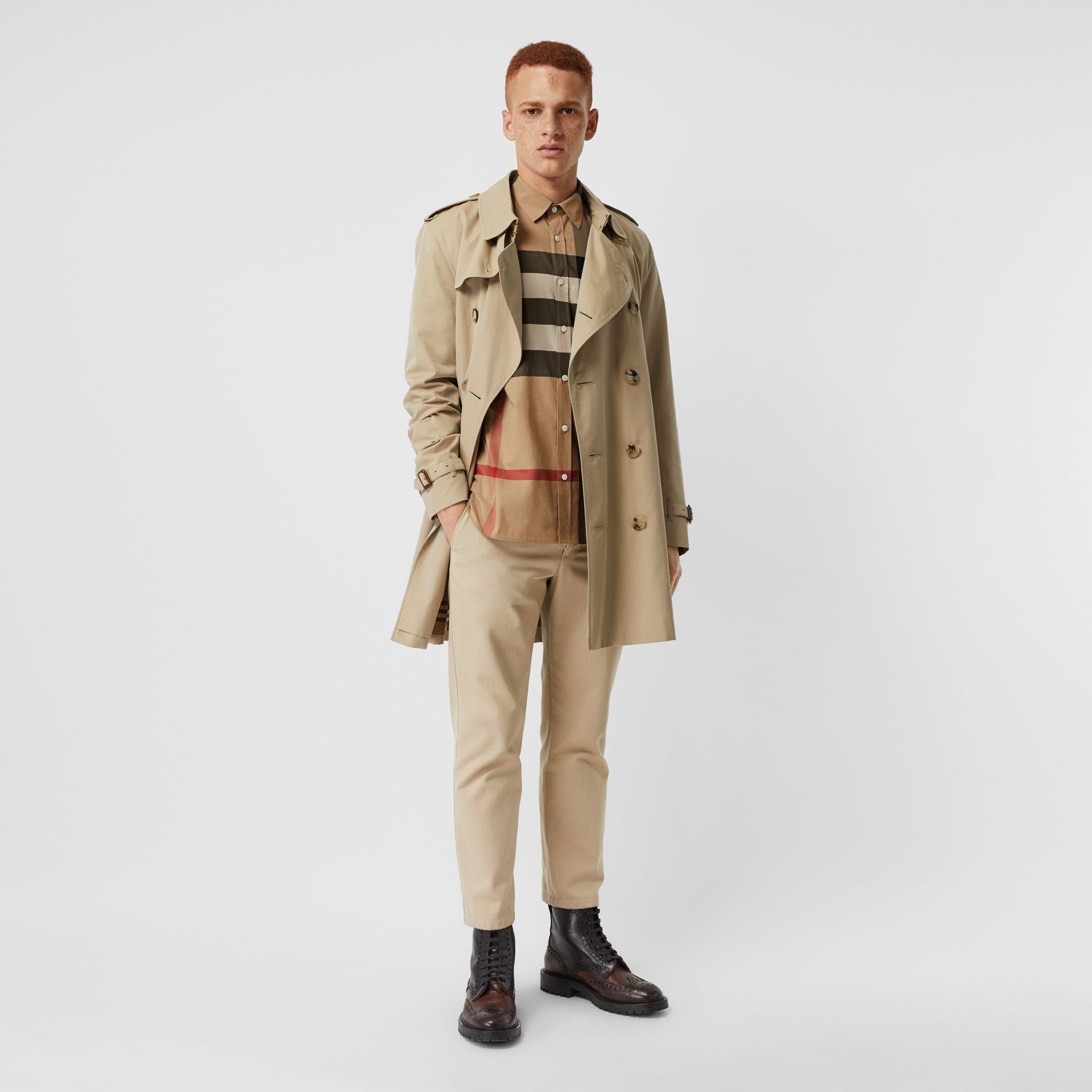 Check Stretch Cotton Shirt in Camel - Men | Burberry Singapore - gallery image 4