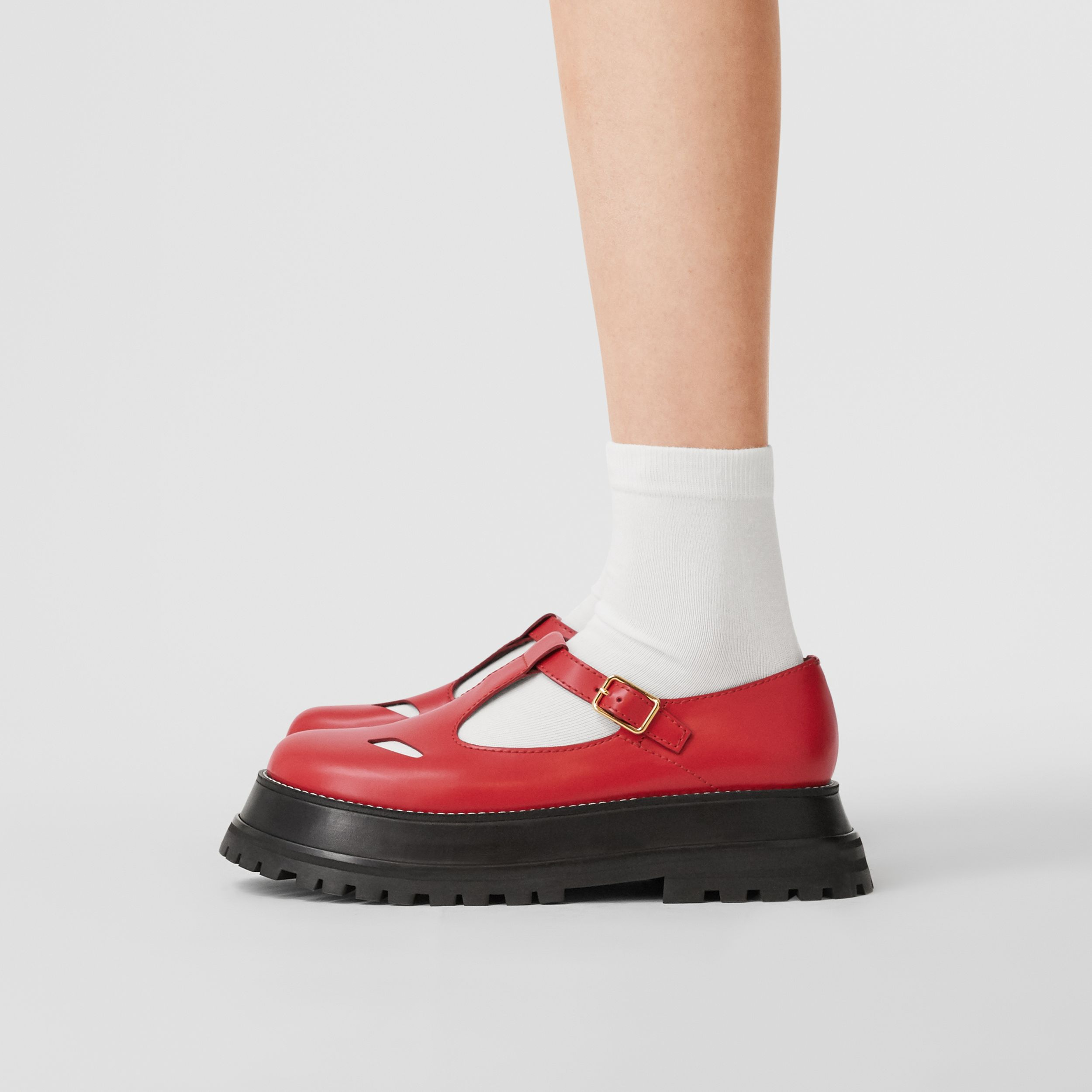 Leather T-bar Shoes in Red - Women | Burberry Canada - 3