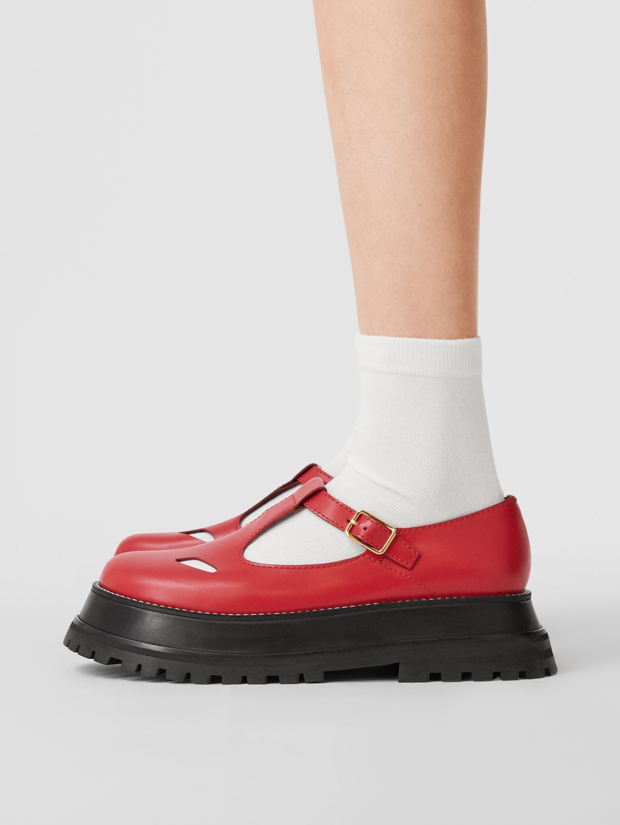 Leather T-bar Shoes (Red)