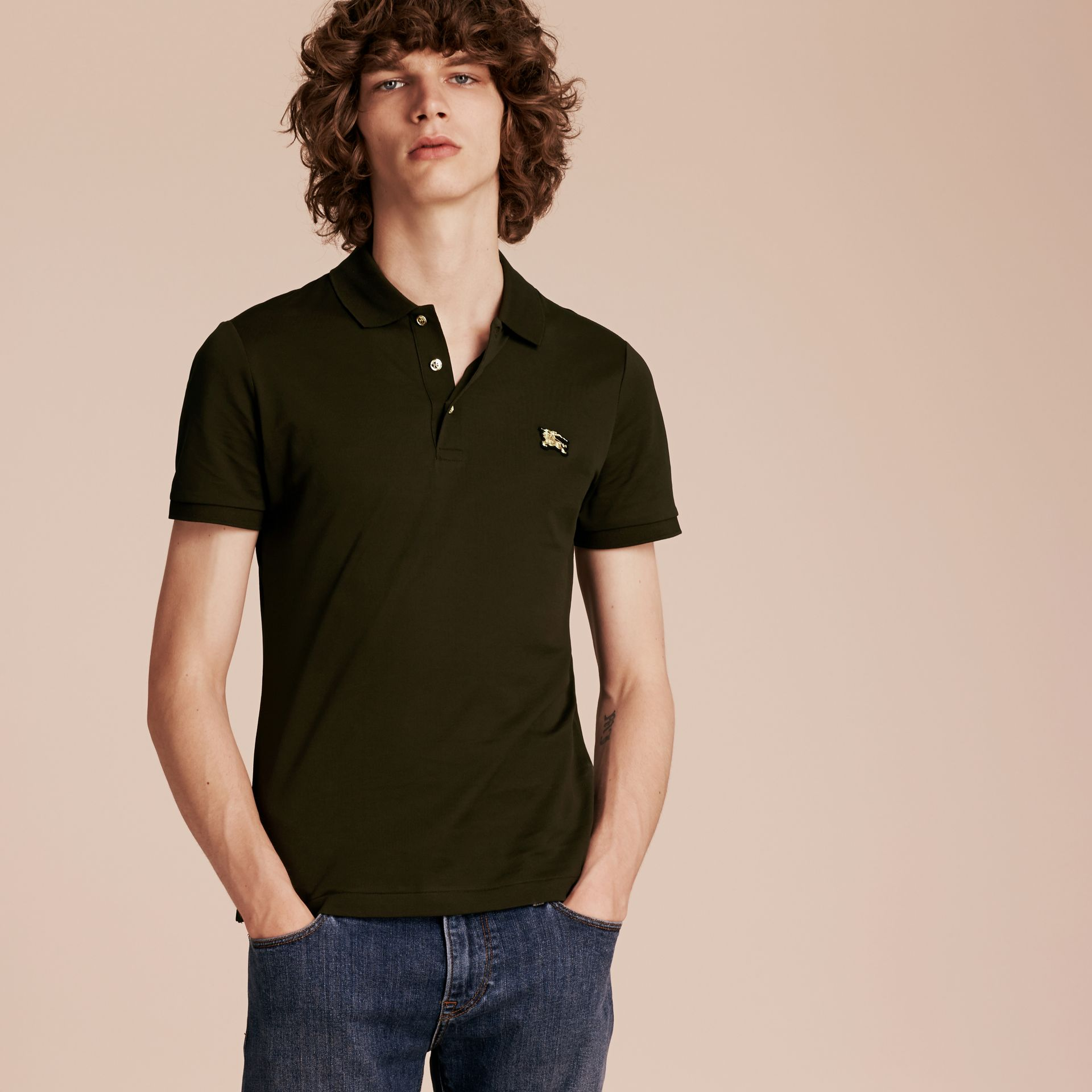 Oregano Fitted Mercerised Cotton-Piqué Polo Shirt Oregano - gallery image 6