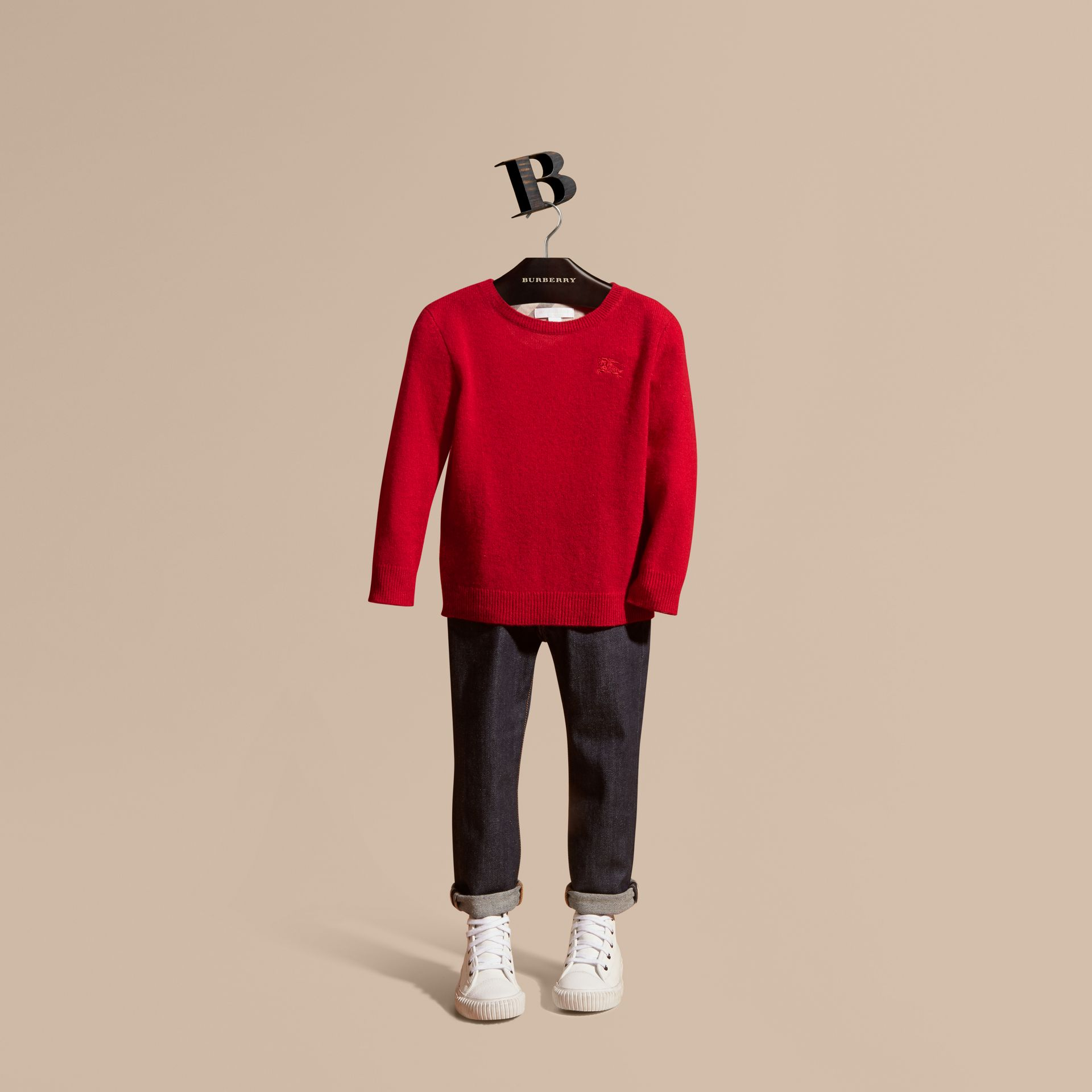 Check Elbow Patch Cashmere Sweater Parade Red - gallery image 1