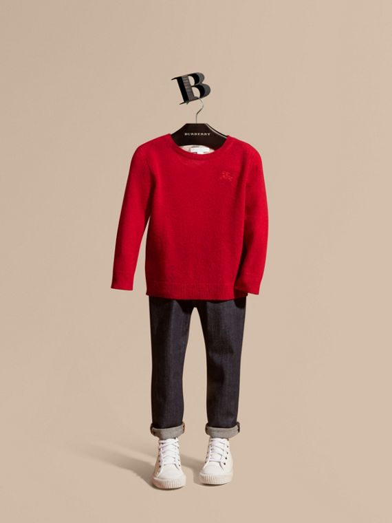 Check Elbow Patch Cashmere Sweater in Parade Red