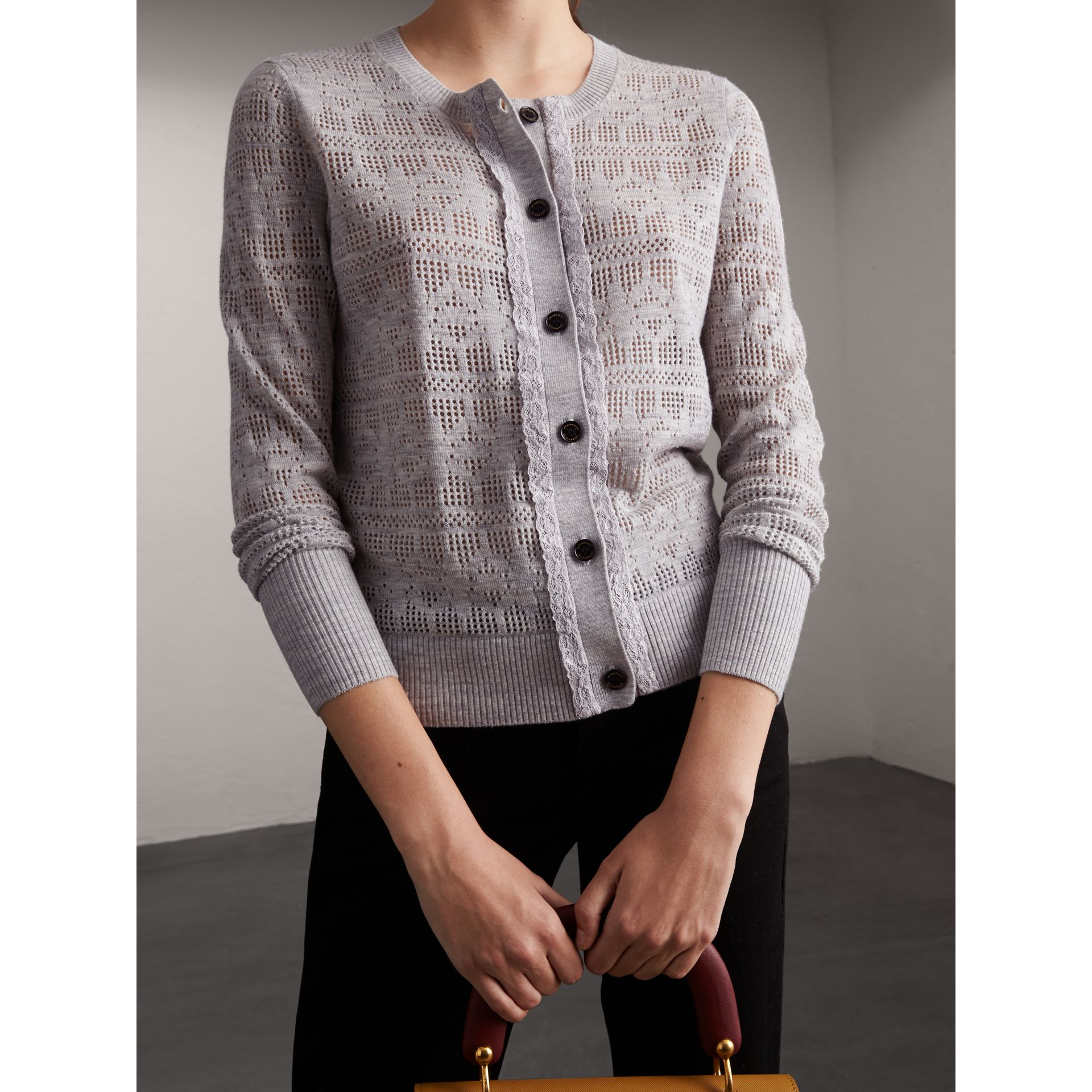 Lace Trim Pointelle Wool Cashmere Cardigan - Women | Burberry - gallery image 5