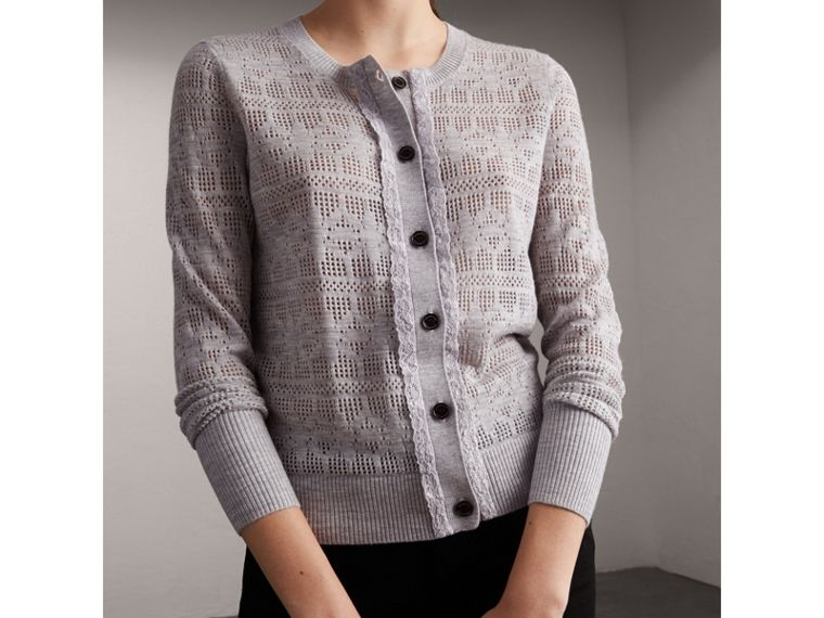Lace Trim Pointelle Wool Cashmere Cardigan - cell image 4