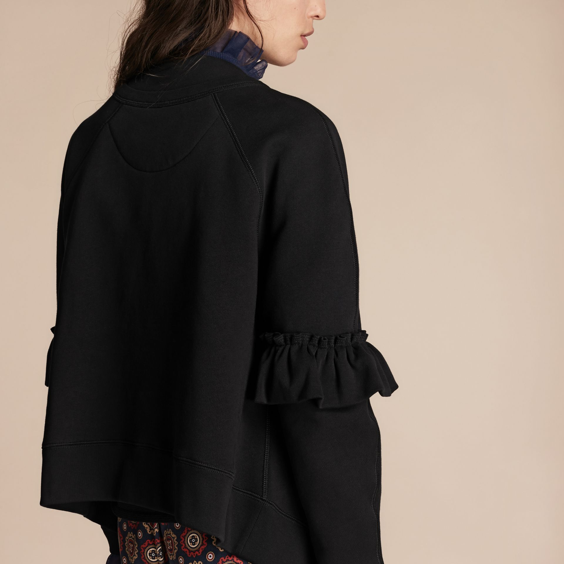 Black Cotton Blend Sweatshirt Jacket with Ruffle Sleeves Black - gallery image 6