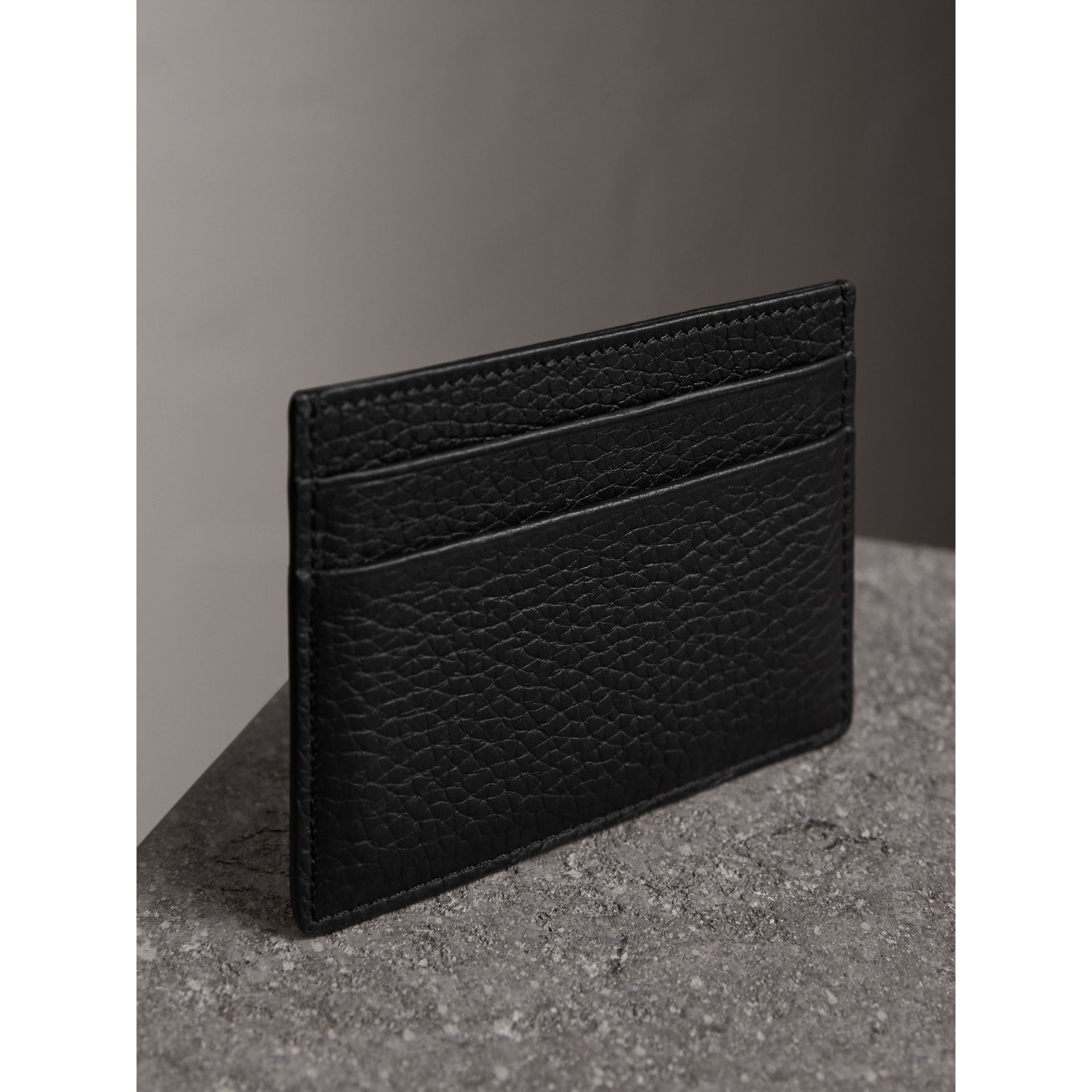 Embossed Textured Leather Card Case in Black | Burberry - gallery image 2