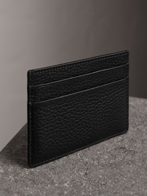 Embossed Textured Leather Card Case in Black - Women | Burberry United Kingdom - cell image 2