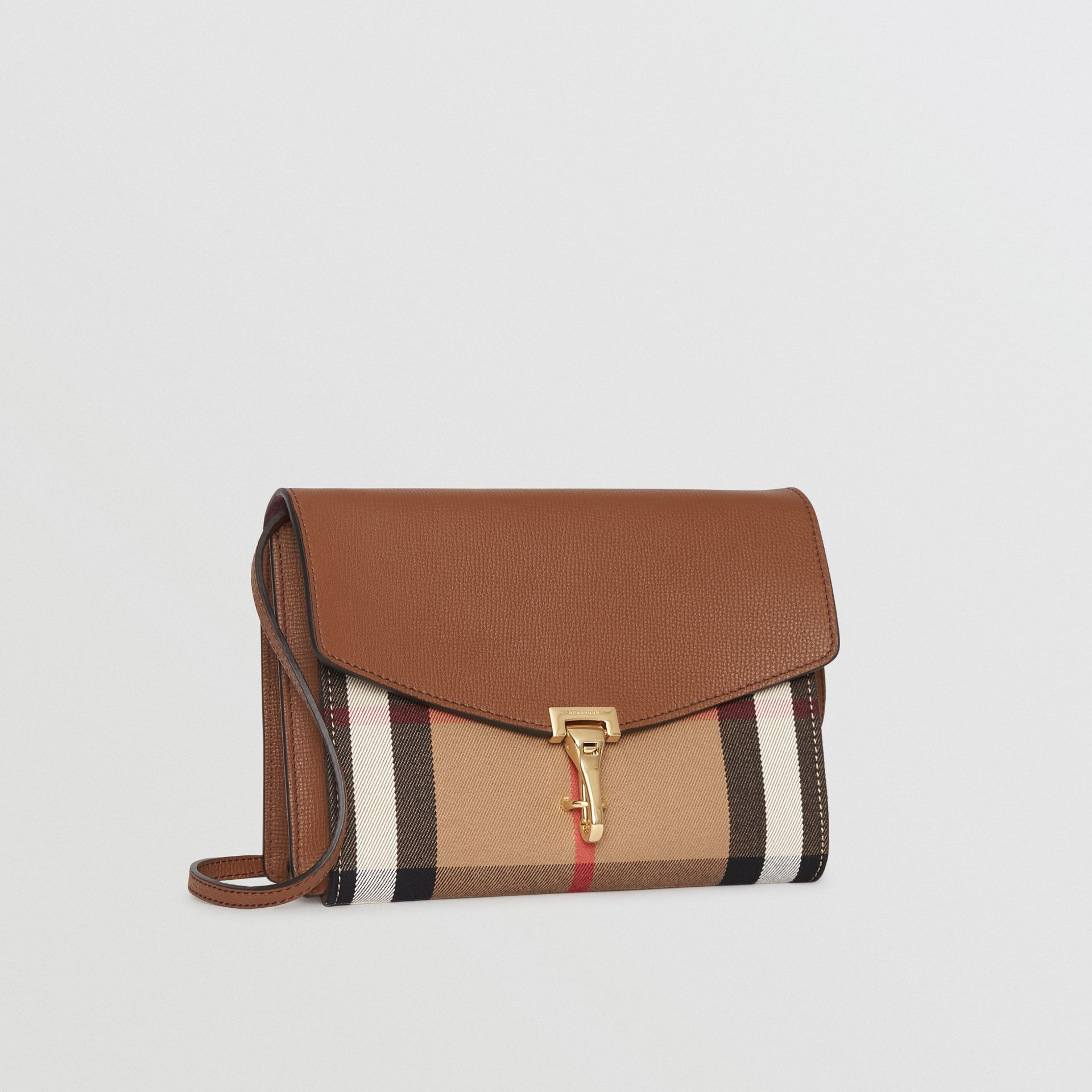 Small Leather and House Check Crossbody Bag in Tan - Women | Burberry Hong Kong - gallery image 6
