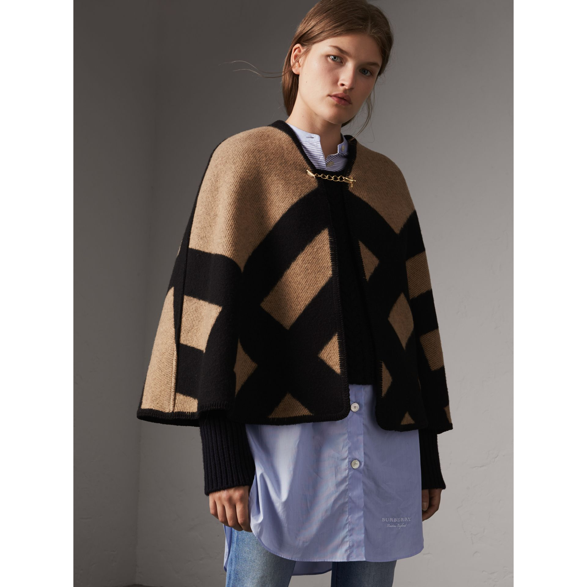 Check Wool Cashmere Blanket Cape in Camel/black - Women | Burberry - gallery image 5