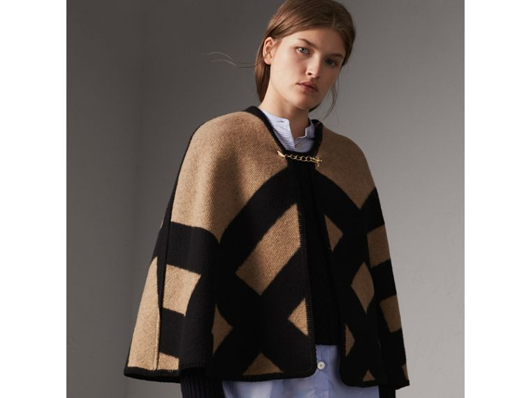 Check Wool Cashmere Blanket Cape in Camel/black - Women | Burberry - cell image 4
