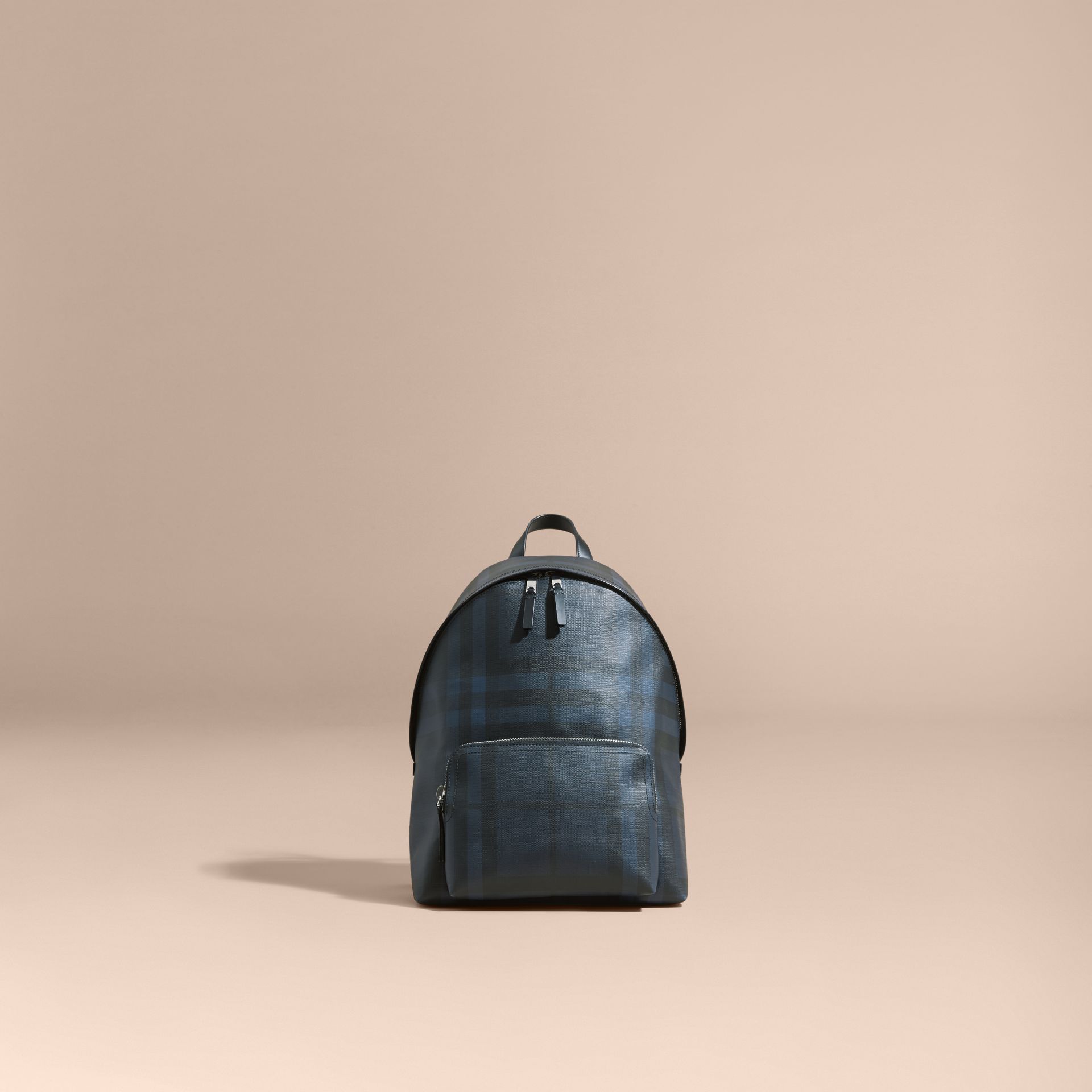 Leather Trim London Check Backpack Navy/black - gallery image 8