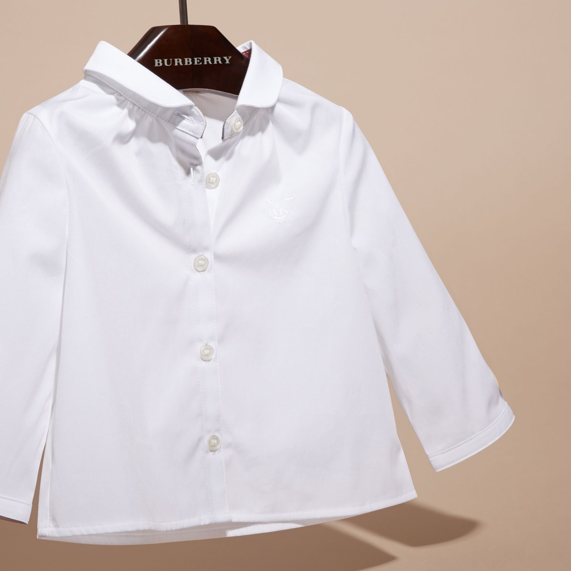 White Peter Pan Collar Stretch Cotton Shirt - gallery image 3
