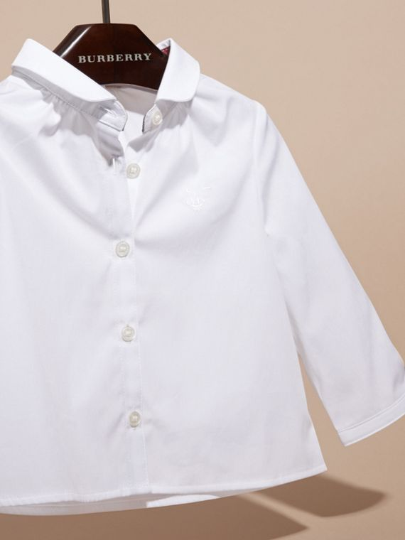 Bianco Camicia in cotone stretch con colletto Peter Pan - cell image 2