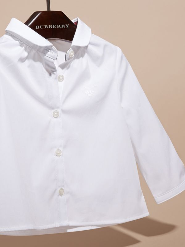 Peter Pan Collar Stretch Cotton Shirt in White | Burberry Singapore - cell image 2