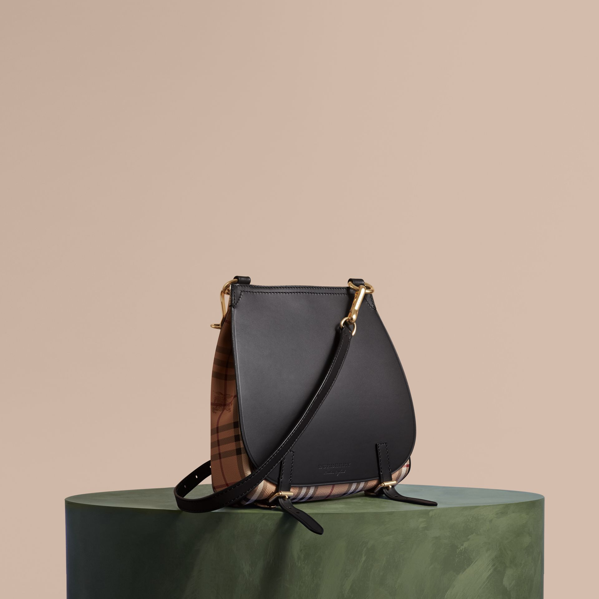The Small Bridle Bag in Leather and Haymarket Check in Black - Men | Burberry - gallery image 1