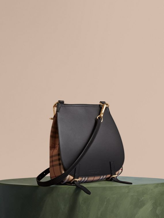 The Small Bridle Bag in Leather and Haymarket Check Black