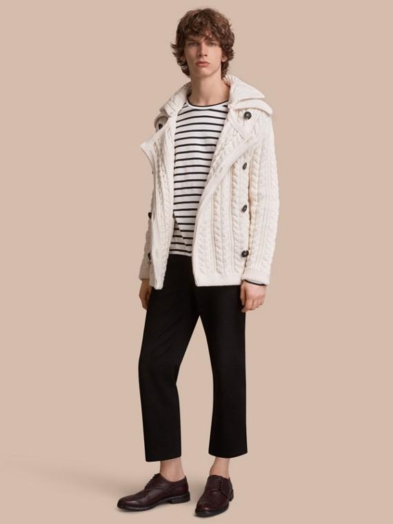 Veste en coton technique à maille Aran (Blanc Naturel)