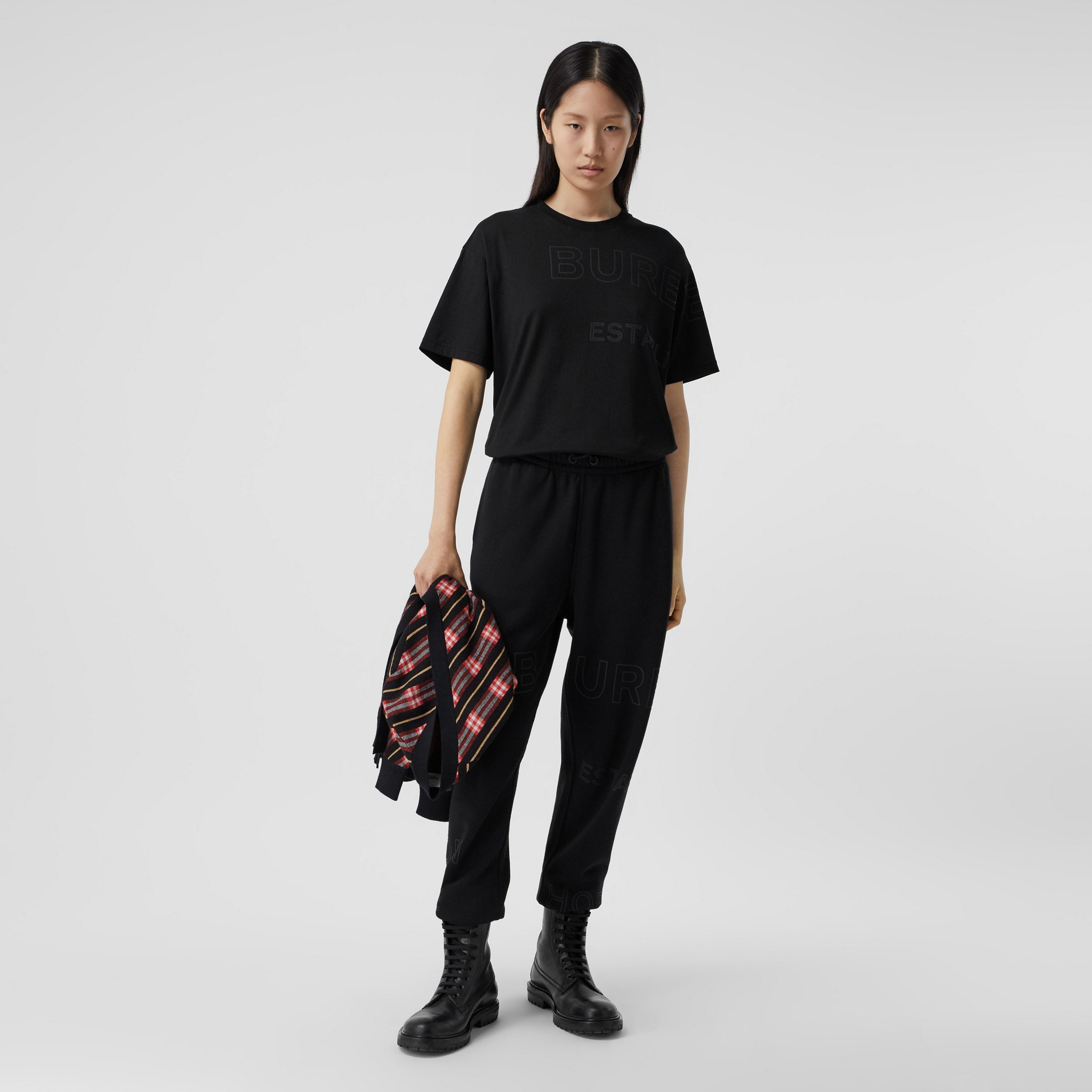 Horseferry Print Cotton Oversized T-shirt in Black - Women | Burberry - 1