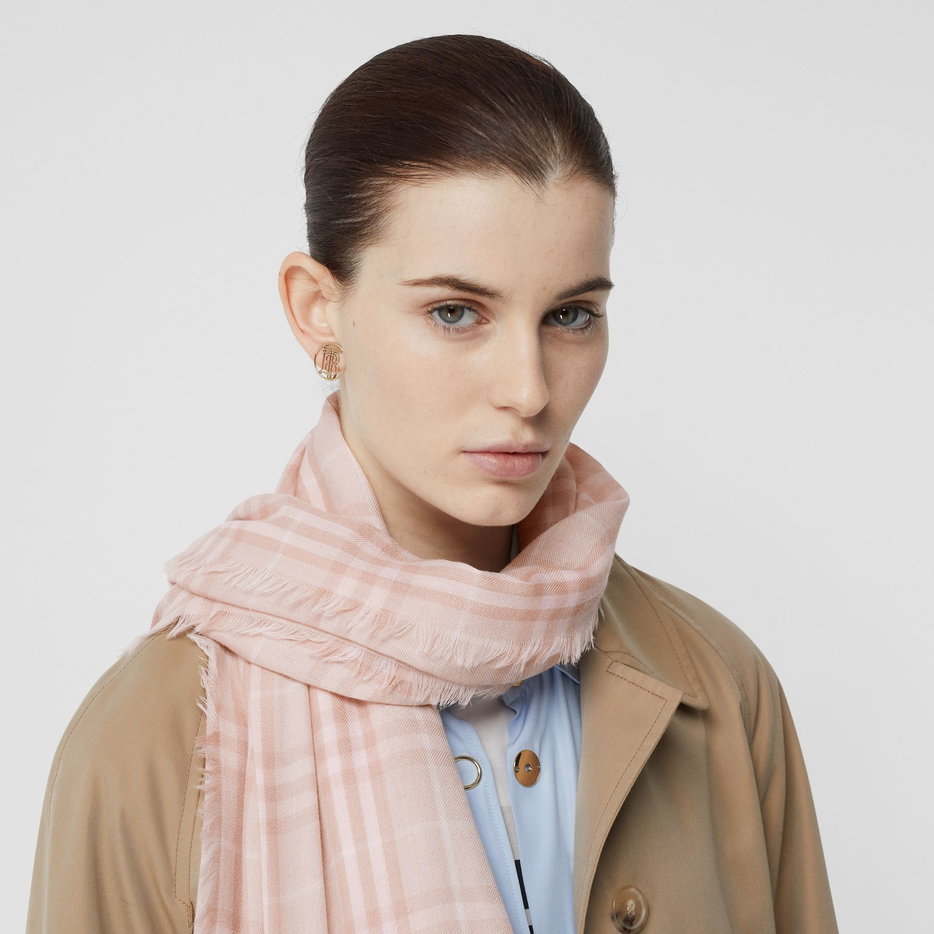 Embroidered Vintage Check Lightweight Cashmere Scarf in Soft Peach | Burberry United States - gallery image 2