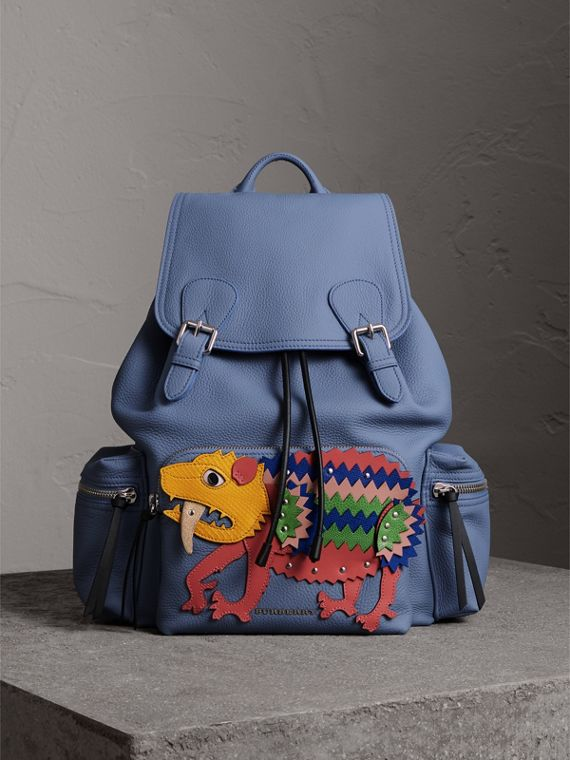 The Large Rucksack in Deerskin with Beasts Motif in Slate Blue - Women | Burberry Hong Kong