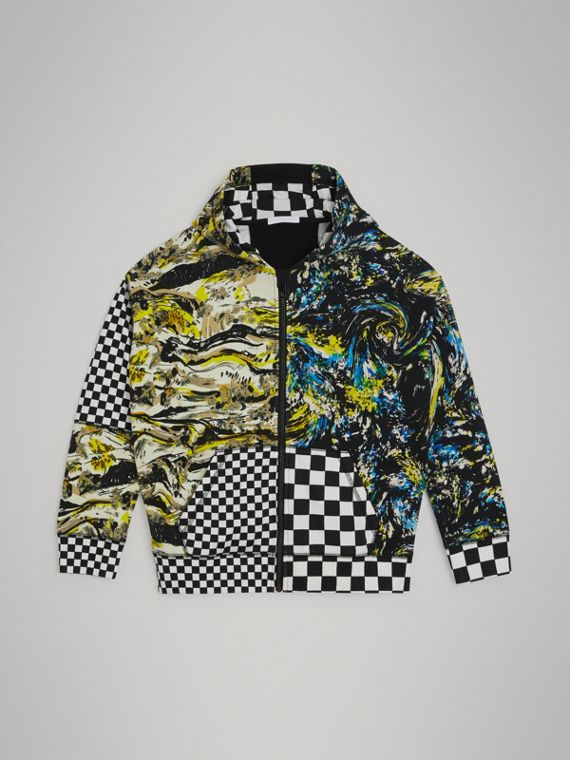 Graphic Print Cotton Hooded Top in Multicolour