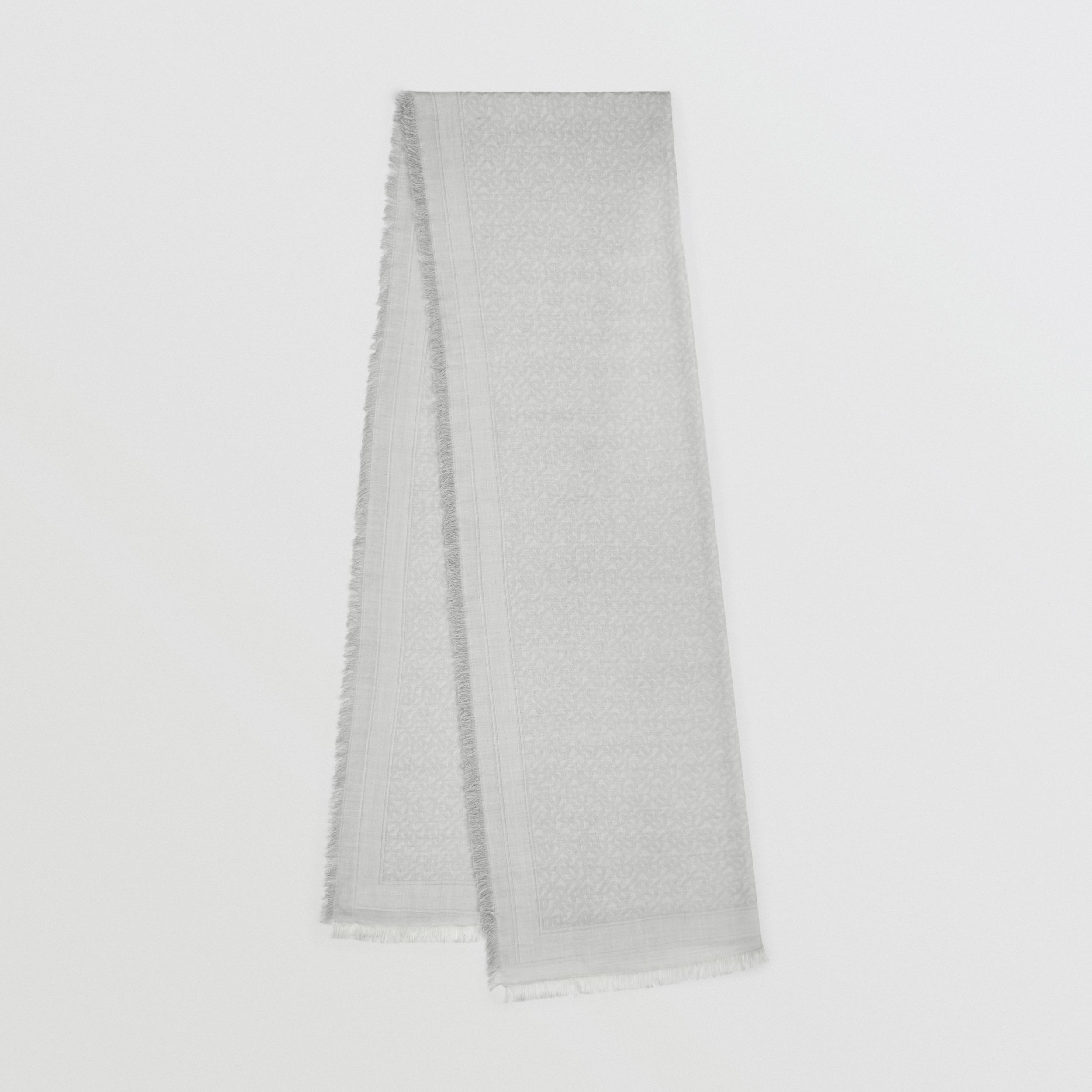 Monogram Wool Silk Jacquard Scarf in Pebble Grey | Burberry United States - 1