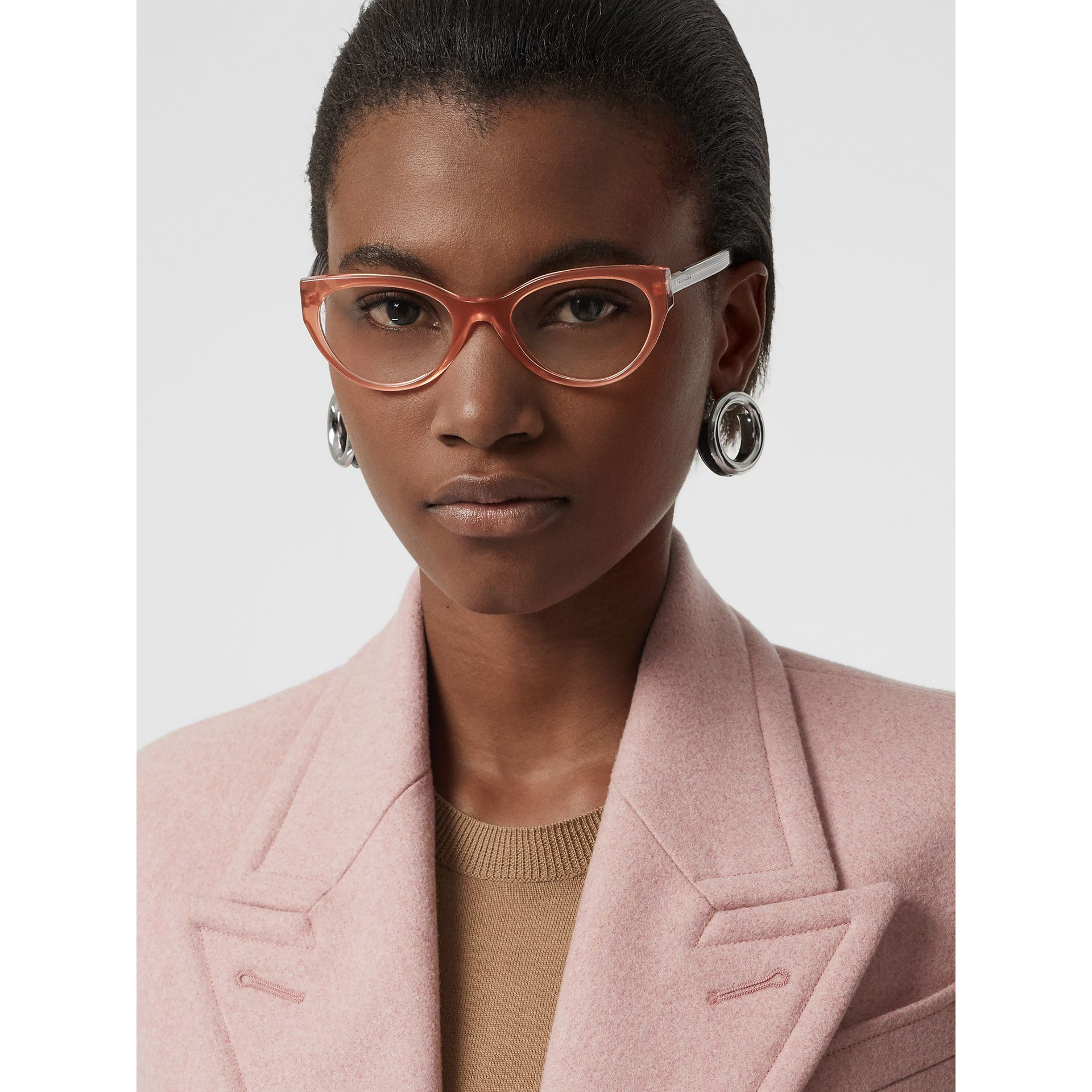 Cat-eye Optical Frames in Peach - Women | Burberry Australia - gallery image 2