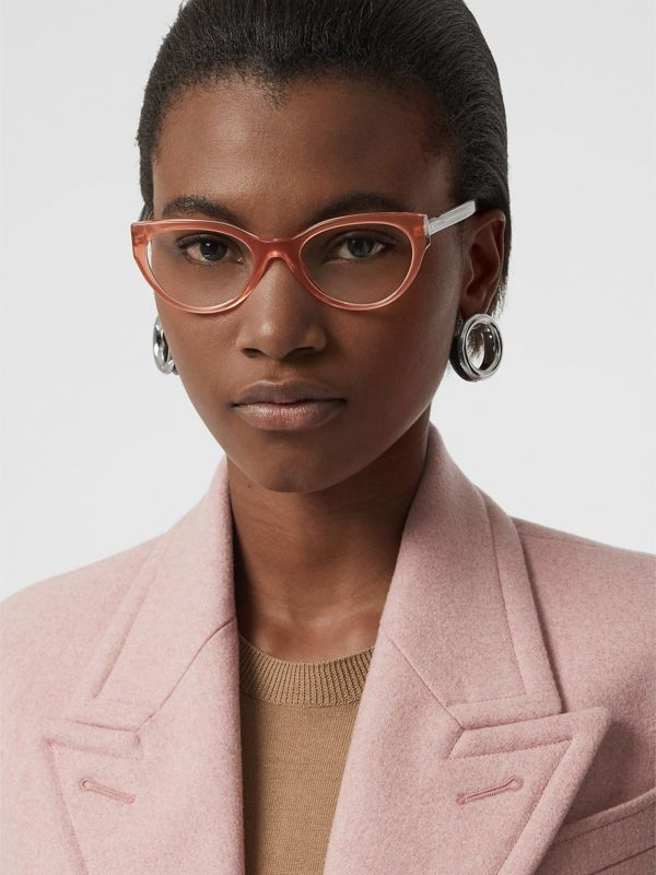 Cat-eye Optical Frames in Peach - Women | Burberry - cell image 2