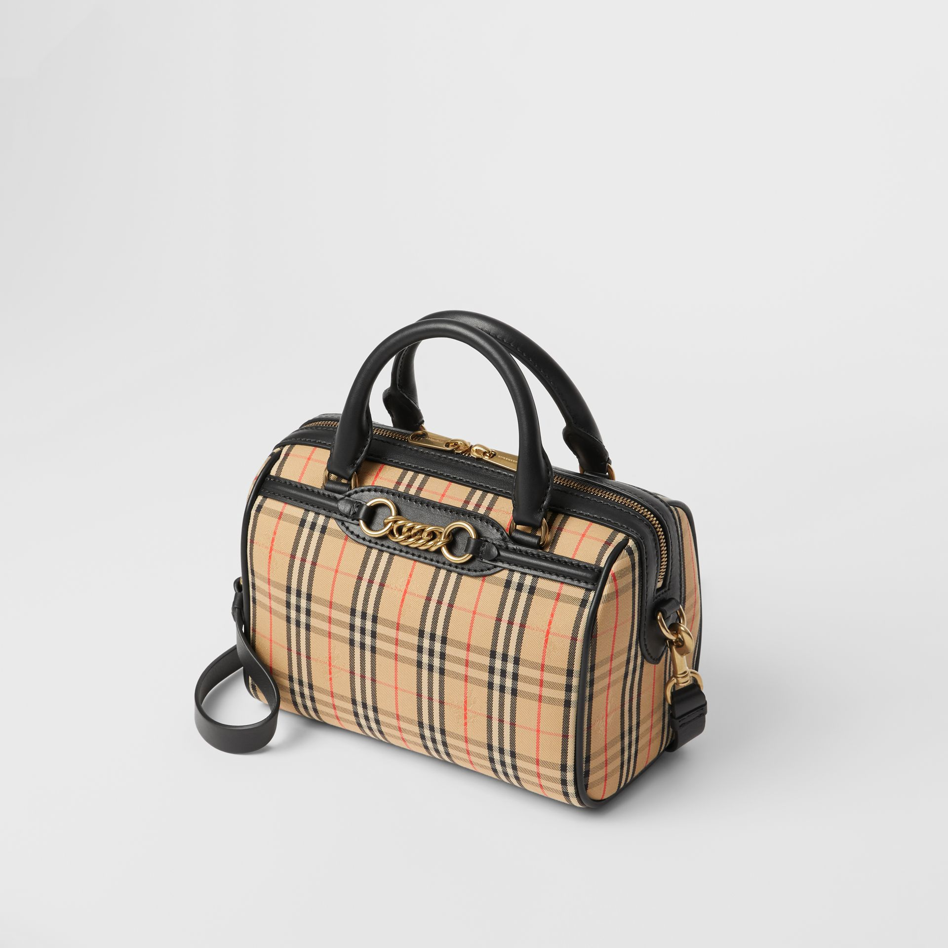 The Small 1983 Check Link Bowling Bag in Black - Women | Burberry - gallery image 3