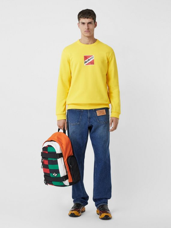Logo Graphic Cotton Sweatshirt in Canary Yellow