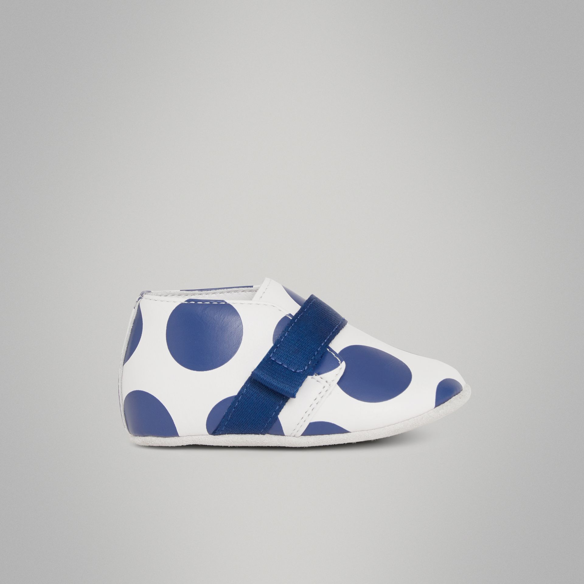 Spot Print Leather Shoes in Bright Blue - Children | Burberry Australia - gallery image 3