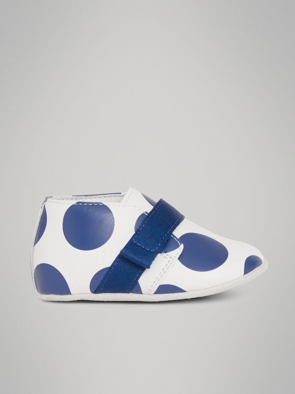 Spot Print Leather Shoes in Bright Blue - Children | Burberry - cell image 3