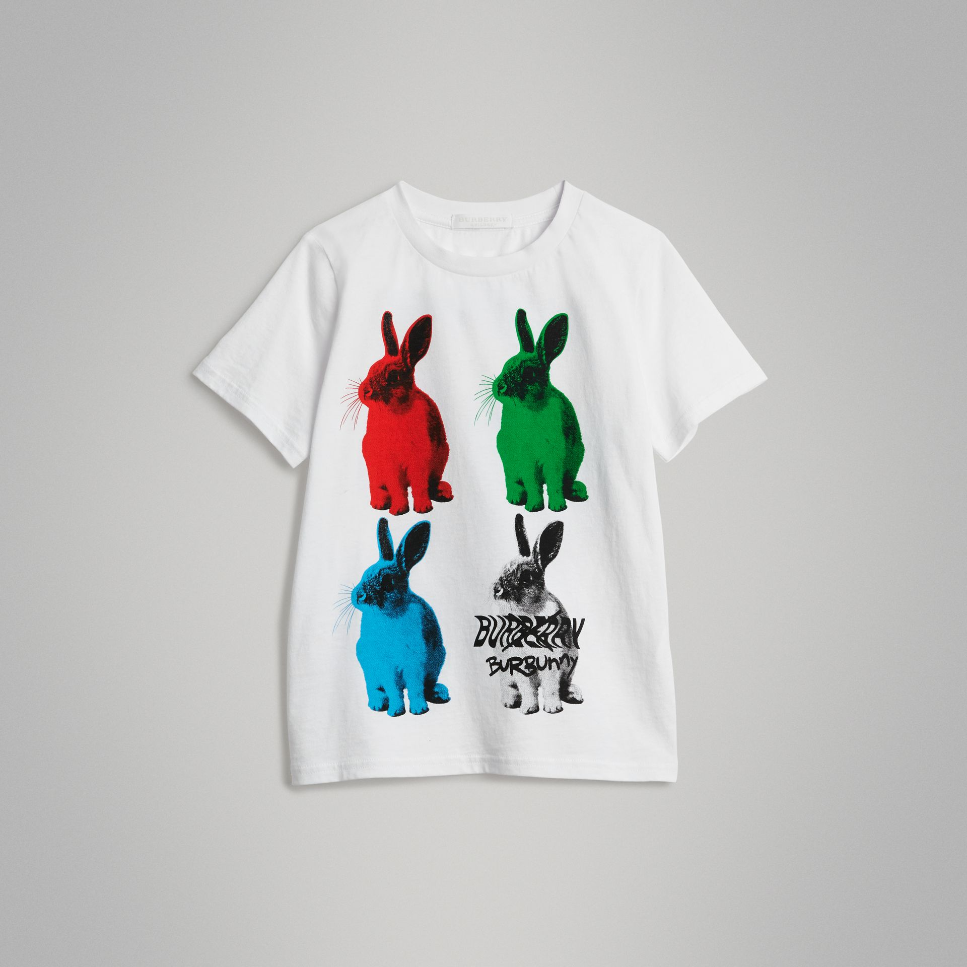 Rabbit Print Cotton T-shirt in White | Burberry United Kingdom - gallery image 0