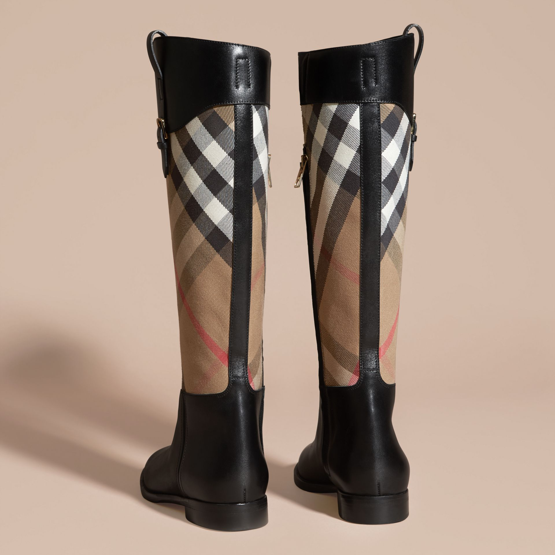 House Check and Leather Riding Boots in Black - Women | Burberry - gallery image 4