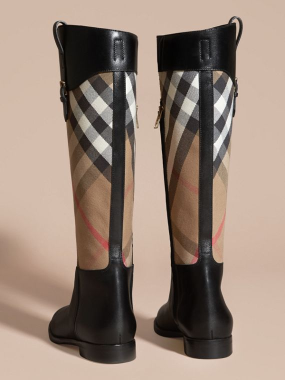 House Check and Leather Riding Boots in Black - Women | Burberry - cell image 3