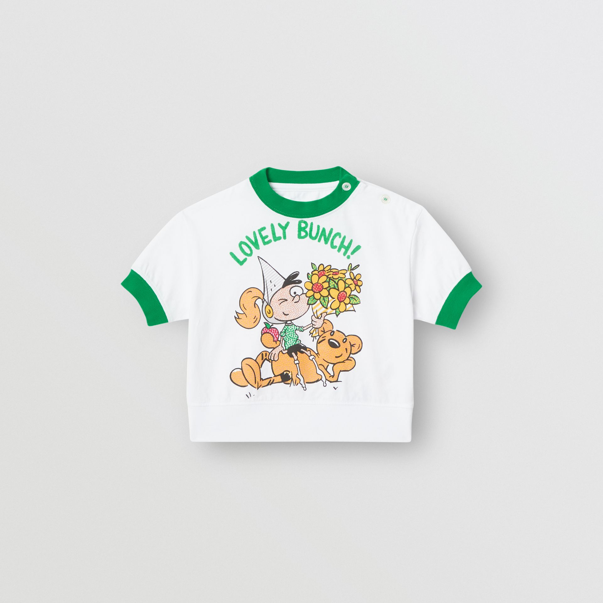 Cartoon Print Cotton T-shirt in White - Children | Burberry - gallery image 0