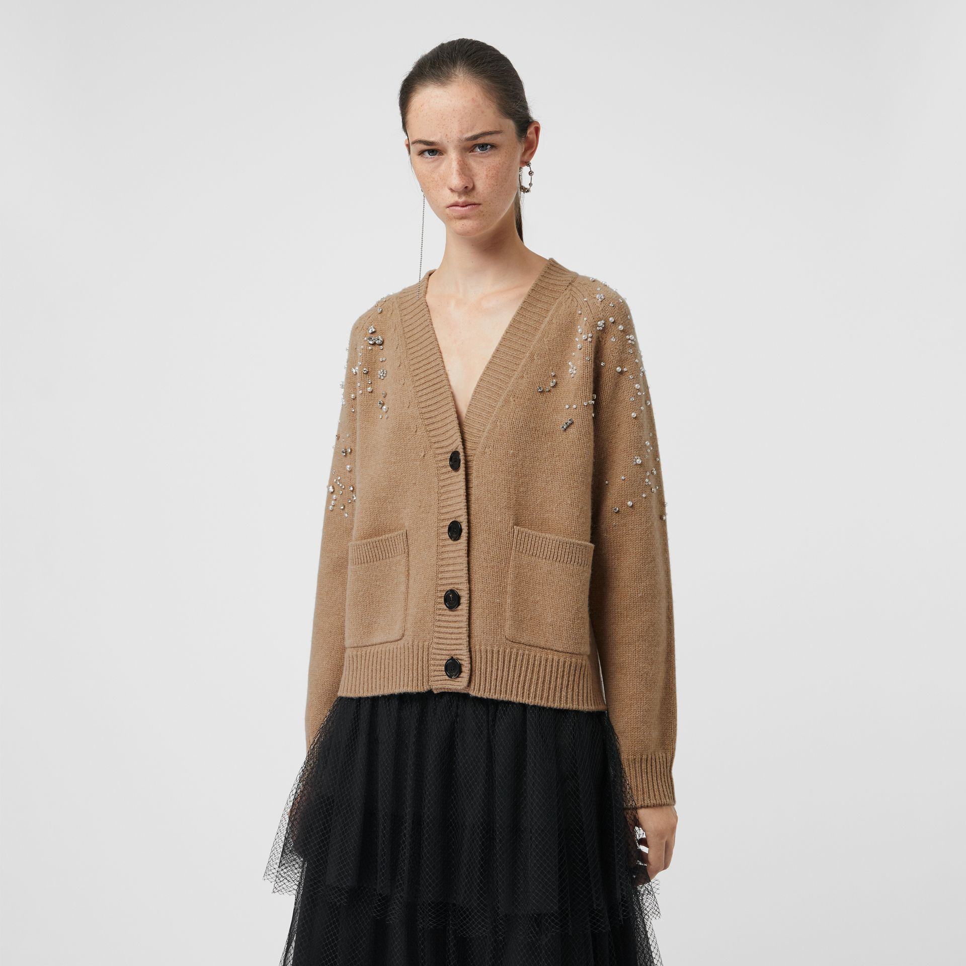 Crystal-embellished Merino Wool Cardigan in Camel - Women | Burberry - gallery image 4