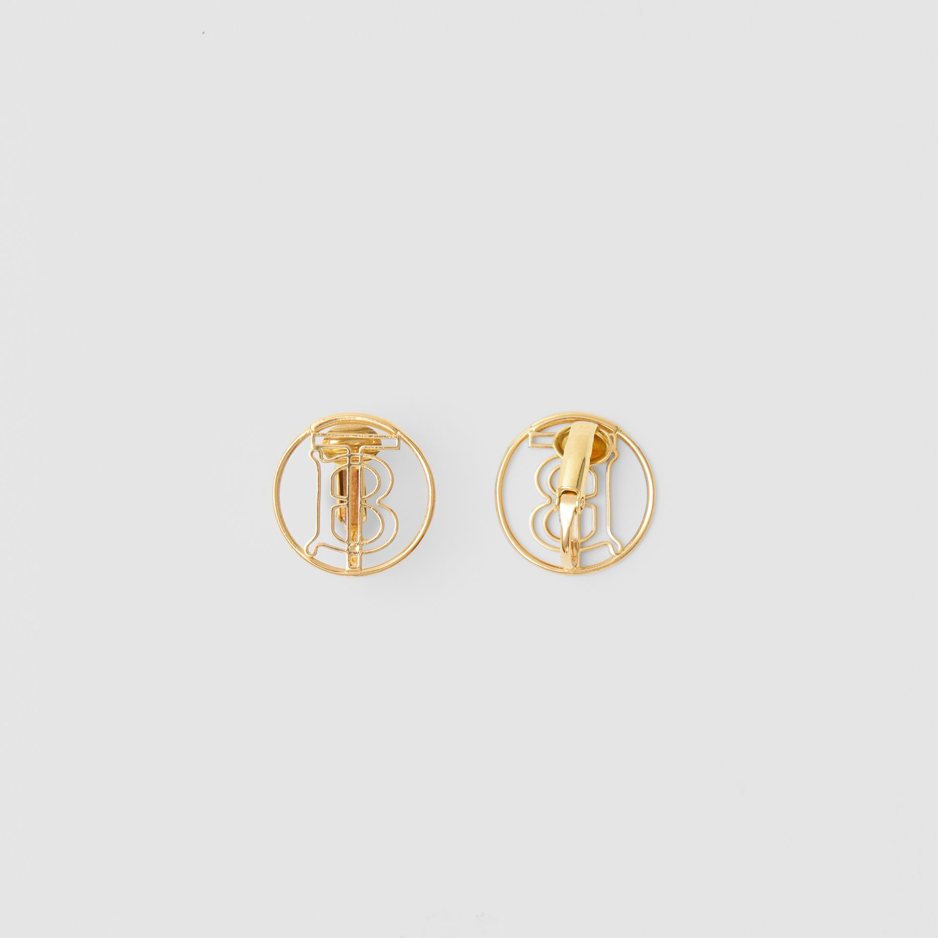 Gold-plated Monogram Motif Earrings in Light - Women | Burberry Singapore - gallery image 3