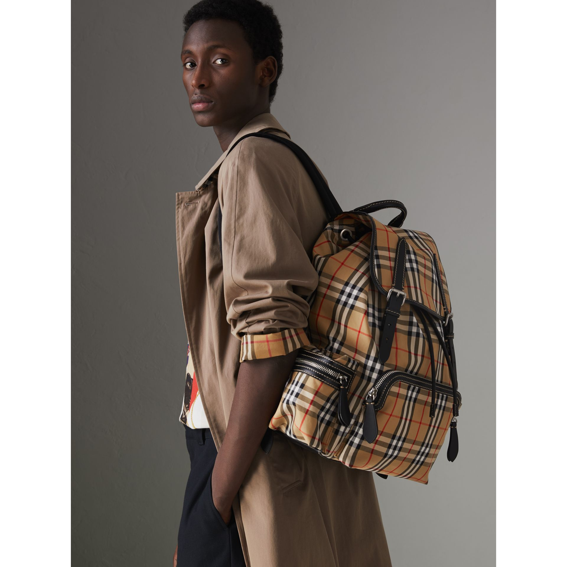 The Large Rucksack in Vintage Check and Leather in Antique Yellow - Men | Burberry United States - gallery image 3