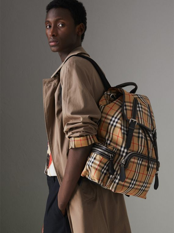 The Large Rucksack in Vintage Check and Leather in Antique Yellow - Men | Burberry United States - cell image 3